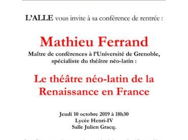 Le théâtre néo-latin de la Renaissance en France